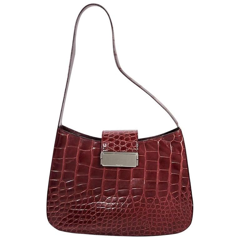 Red Prada Alligator Shoulder Bag For Sale