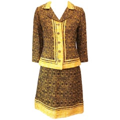 1960s Couture Tweed Chanel Style Custom Skirt Suit