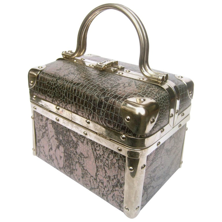 Borsa Bella Italian Metallic Embossed Vinyl Box Purse, circa 1980s
