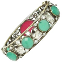 French Paste and Red/Green Cabochon Bangle - Circa 30's