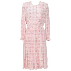 Chanel printed white & pink silk dress with matching scarf