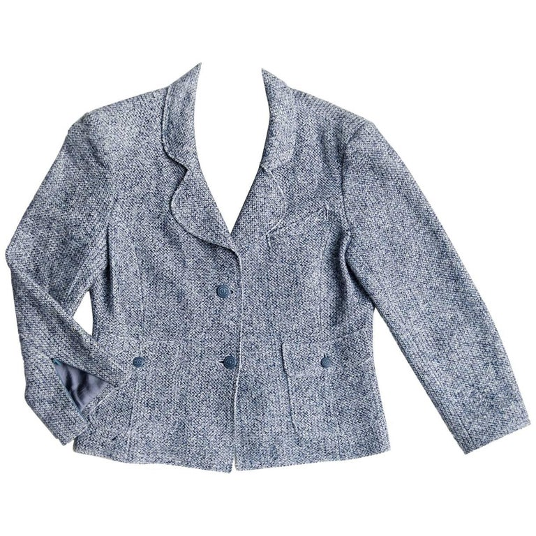 Chanel Blue Linen and Cotton Blazer