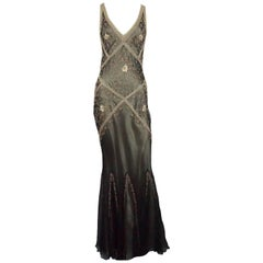 Valentino Brown and Gold Silk Beaded Gown - 8