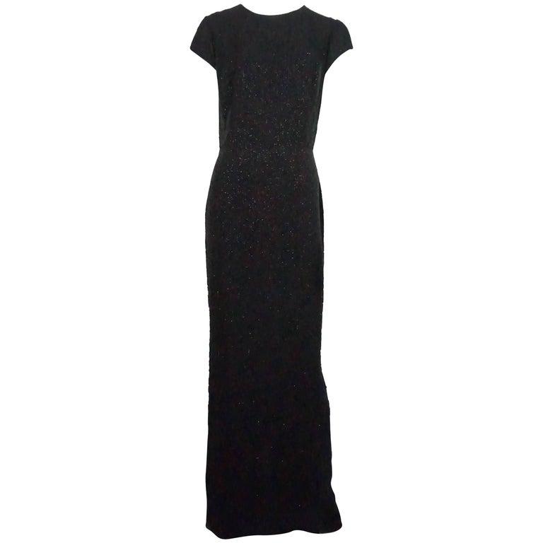 Oscar De La Renta Black Silk Fully Beaded Gown