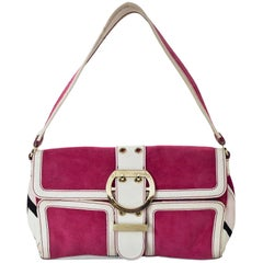 Emilio Pucci Pink Suede & White Leather Buckle Shoulder Bag