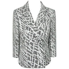 Chanel Black and Silver Brocade Jacket