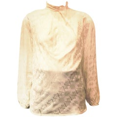 Oscar de la Renta White Silk Abstract Blouse, 1990s