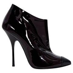 Giuseppe Zanotti Burgundy Patent Leather Ankle Boots