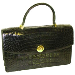 Oversized Green Alligator Bag