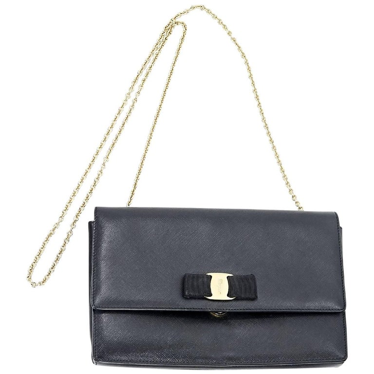 ccc4623d8e Salvatore Ferragamo Black Saffiano Leather Miss Vara Bag For Sale at ...