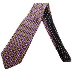 Versace Italian Violet & Gold Graphic Print Silk Necktie c 1990s