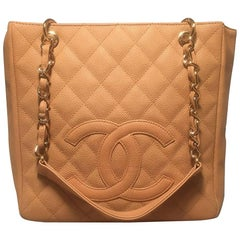 Chanel Nude Quilted Caviar Leather Shopper PST Petite Shopping Tote