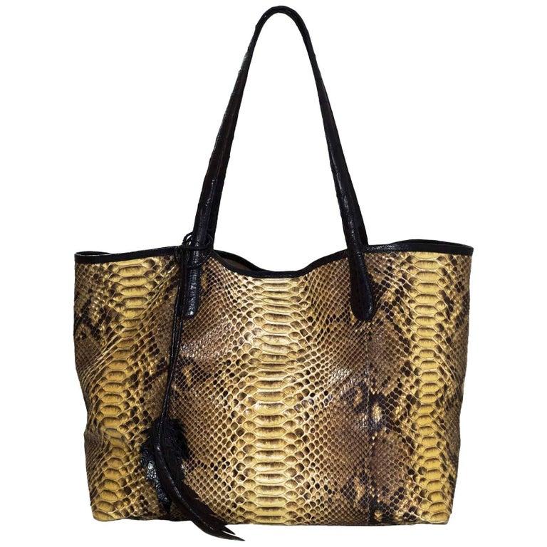 Nancy Gonzalez Python & Caiman Crocodile Erica Shopping Tote Bag