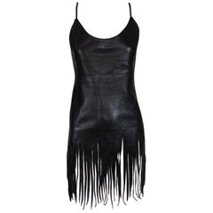 1990's Gianfranco Ferre Black Leather Fringe Tunic Top Mini Dress