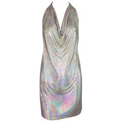 1990's Fred Hayman Silver Rainbow Metal Chainmail Halter Micro Mini Dress