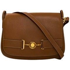 Hermes 1980s Vintage Tan Epsom Leather Saddle Bag