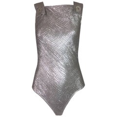 S/S 1994 Gianni Versace Metallic Silver Buckle Pinafore Bodysuit Top 38