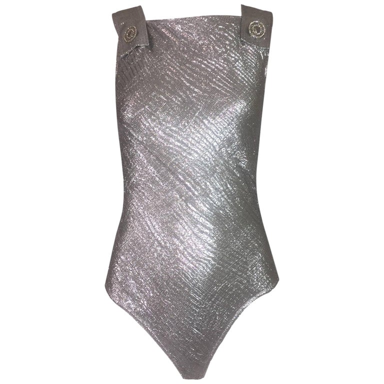 S/S 1994 Gianni Versace Couture Metallic Silver Pinafore Bodysuit Top 38