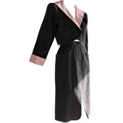 Yves Saint Laurent Gray Denim Pink Linen Trim Skirt and Jacket Ensemble, 1980