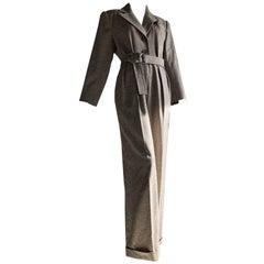 1980s Yves Saint Laurent Menswear-Style Belted Wool Jumpsuit