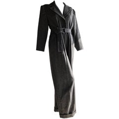 1980s Yves Saint Laurent Menswear-Style Belted Charcoal Wool Jumpsuit
