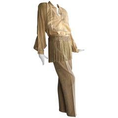 1980s Valentino Parchment Linen & Fringe Capri Pant & Tunic