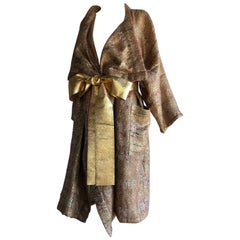 Gold Woven Mohair Shawl Collar Duster & Gold Lame Obi Belt