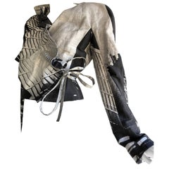 John Galliano Gray and White Linen Wrap-Front Jacket W/ Side Tie and Ruffle