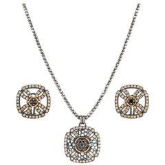 """BOHEMME A/W 2012 """"Croix"""" Diamond 18K Sterling Pendant Necklace Earring Parure"""