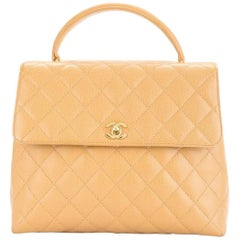 Chanel Nude Leather Kelly Style Evening Top Handle Satchel Flap Bag