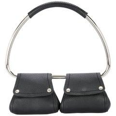 Prada Black Leather Silver 2 in 1 Evening Hoop Top Handle Satchel Bag
