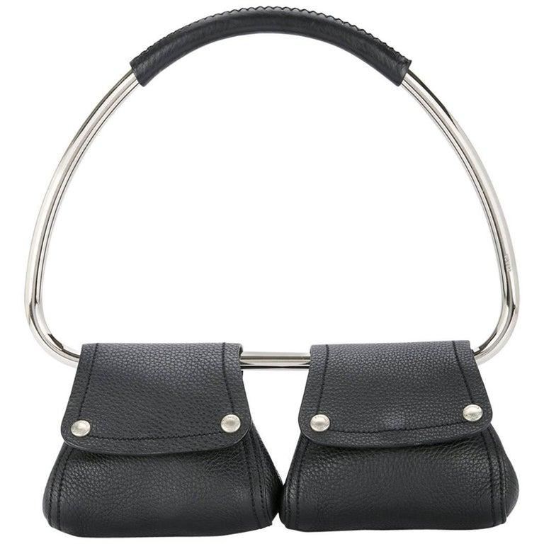 6278f9b57f05 Prada Black Leather Silver 2 in 1 Evening Hoop Top Handle Satchel Bag For  Sale