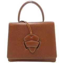 Loewe Cognac Leather Evening Top Handle Satchel Shoulder Flap Bag