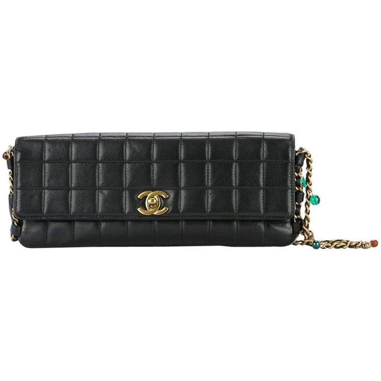 e5554622f05923 Chanel Black Leather Multi Color Gripoix Evening Clutch Shoulder Flap Bag  For Sale