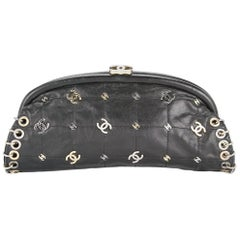Chanel Leather Mixed Metal Gold Silver Charm Kisslock Evening Clutch Bag