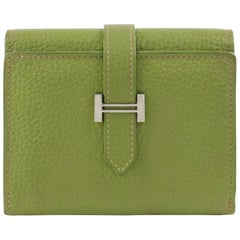 "HERMES Lime Green Pebbled Leather ""H"" Logo Closure Tri-fold Wallet"