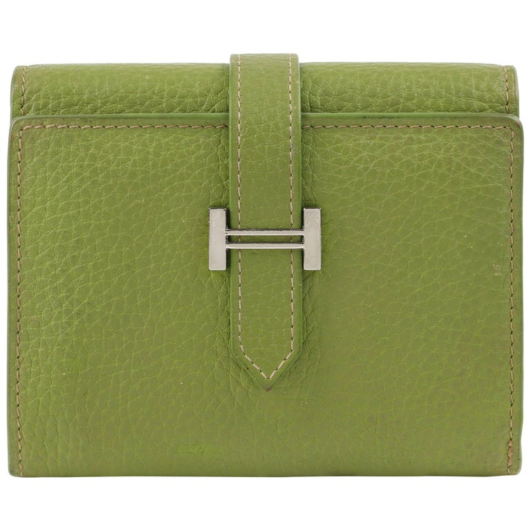 """HERMES Lime Green Pebbled Leather """"H"""" Logo Closure Tri-fold Wallet For Sale"""