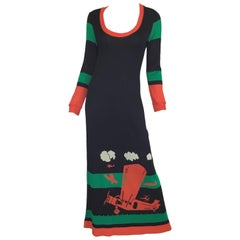 Giorgio Sant Angelo 1970's Airplane Print Knit Dress