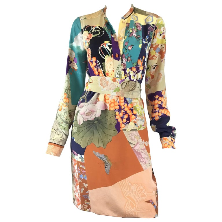 cb508d11f Gucci Floral Print Silk Dress For Sale at 1stdibs