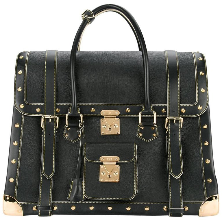 Louis Vuitton Rare Limited Edition Black Top Handle Carryall Travel Tote Bag For Sale