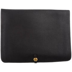 Hermes Black Leather Gold Large LapTop Business Envelope Clutch CarryAll Bag