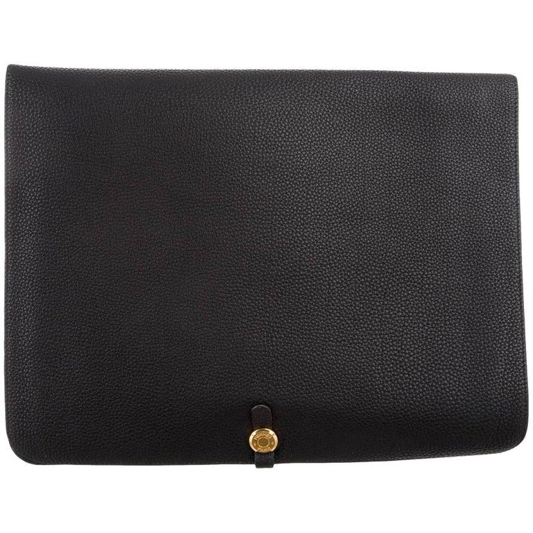 Hermes Black Leather Gold Large LapTop Business Envelope Clutch CarryAll Bag