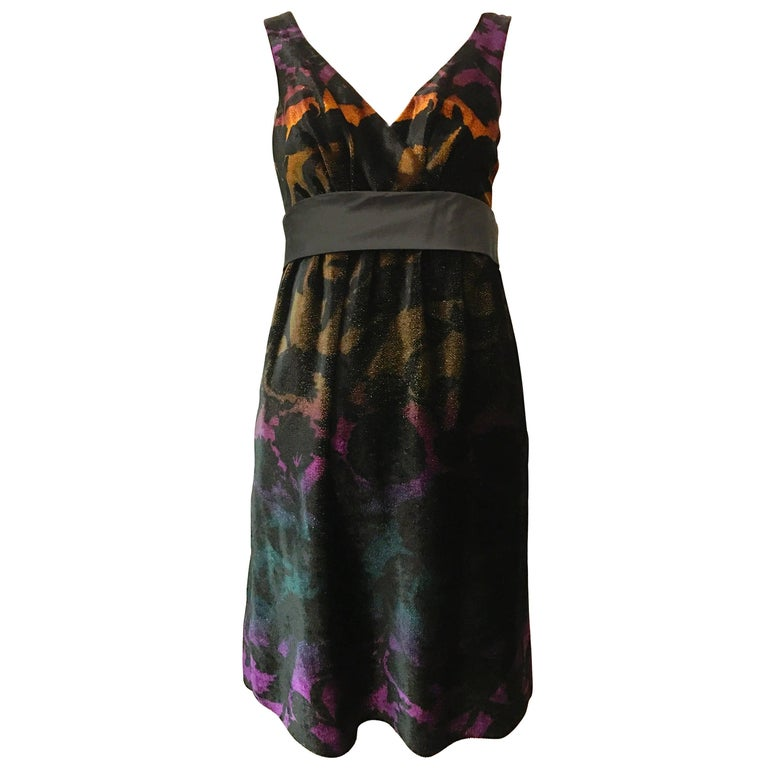 Contemporary Etro Black Velvet Abstract Print Dress