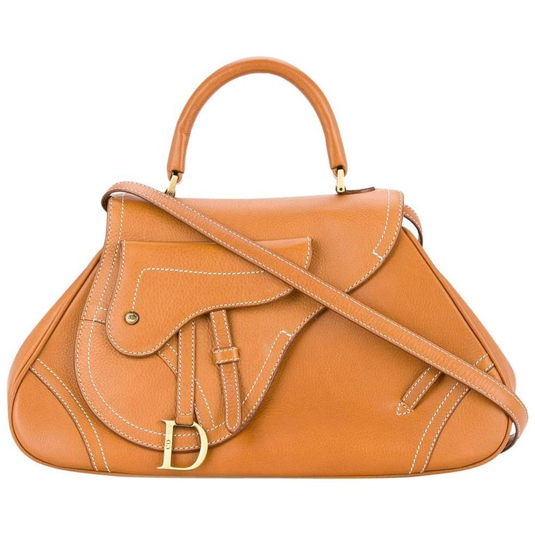 Christian Dior Cognac Leather Gold Charm Top Handle Satchel Flap Shoulder Bag