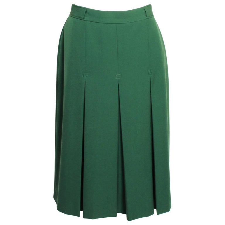 1970's Gucci Green Twill Skirt