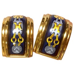 Hermes Vintage blue and yellow cloisonne and gold earrings with H logo, 1990s