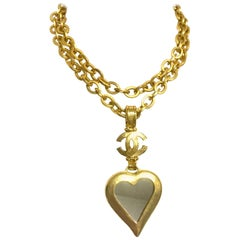 Chanel Vintage thick chain statement necklace with CC and large heart top, 1995