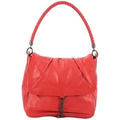 Bottega Veneta Flap Shoulder Bag Leather with Intrecciato Detail Small