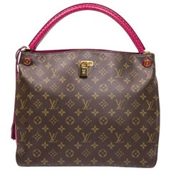 LOUIS VUITTON 'Gaia' Bag in Brown Monogram Canvas, Ostrich and Lizard Leather