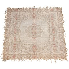 Antique French Woven Tapestry Floral Fringed Cotton Rug